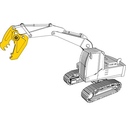 Recycling and demolition equipment and attachments in Hardox® wear plate