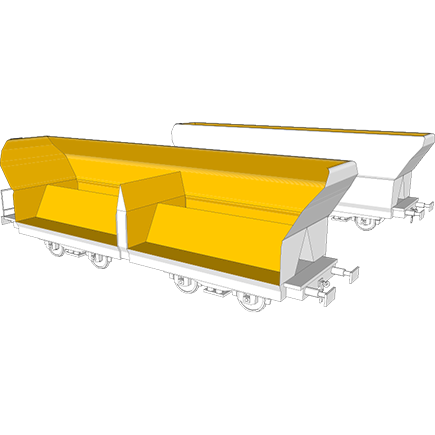 Railway hopper car liner in Hardox® wear plate