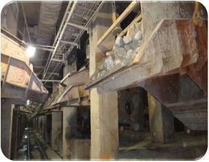 Il rivestimento dello scivolo nella miniera assicura una maggiore durata utile