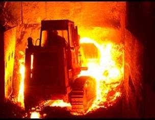 Pala cargadora para escoria caliente de fundición con una larga vida útil