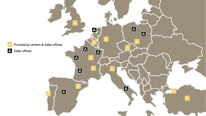 Mapa de la red Abraservice en Europa