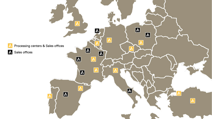 Map over Abraservice network in Europe
