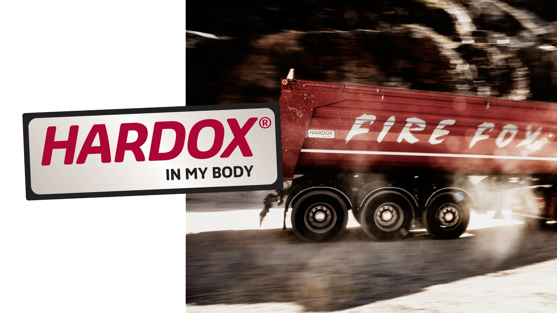 A fiery red Firefox truck body, made in Hardox® wear plate.