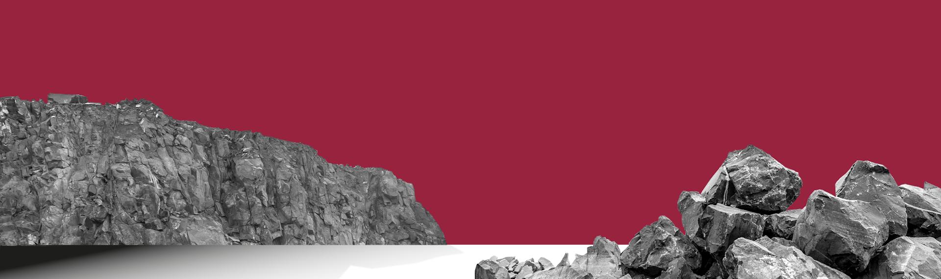 赤い背景に岩が並ぶ