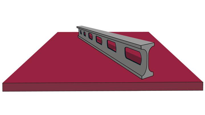 Парче от плосък износоустойчив лист Hardox® с праволинейност, отговаряща или надхвърляща стандарта EN 10 029.