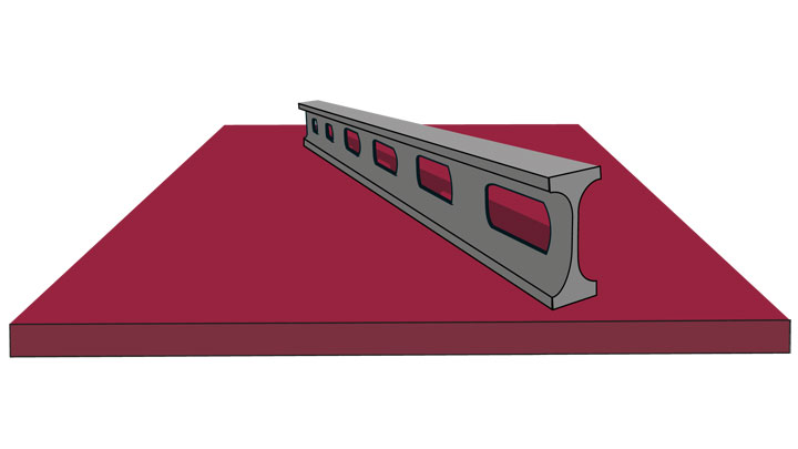 A piece of flat Hardox® wear plate with flatness that meets or exceeds the EN 10 029 standard.