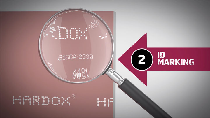 A magnified view of the traceable ID marking on a piece of Hardox® wear plate.