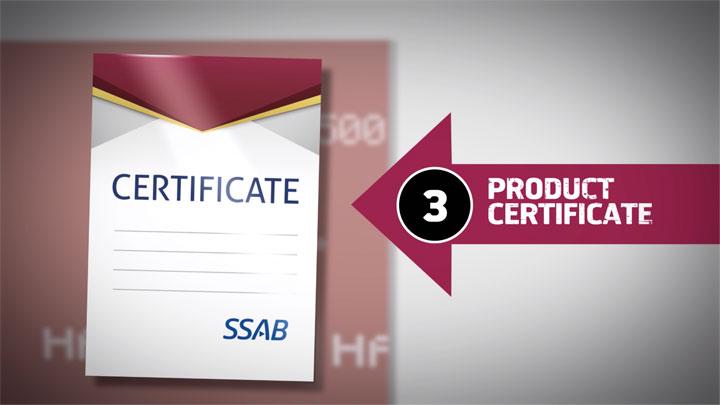 Продуктов сертификат за износоустойчивите листове Hardox®, знак за автентичността на стоманата.