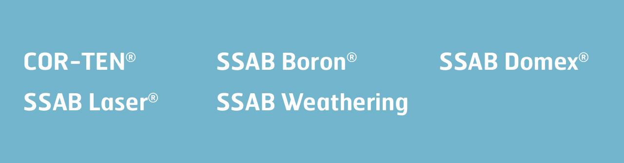 Продукти с марките на SSAB