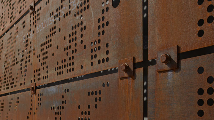 Povětrnostně odolný ocelový plech COR-TEN® lze perforovat jakýmkoli způsobem podle přání zákazníka.