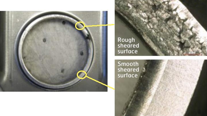 Exemplos de problemas de ductilidade de bordas feitas com o AHSS