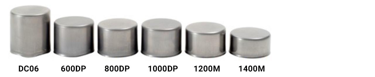 copos estampados feitos com uma variedade de aços, desde muito macios até aços de ultra-alta resistência