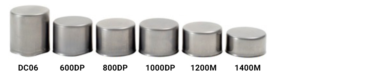 drawn cups made from a range of very soft to ultra-high strength steels