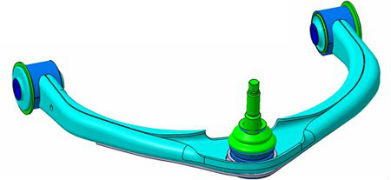 The front suspension upper control arm main stamping is made of Domex 700 M