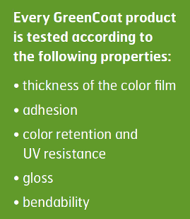 GreenCoat testegenskaper