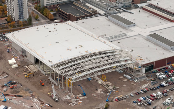 Helsinki-Exhibition Convention Centre Double grade hollow section trusses