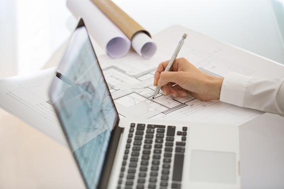 Blueprints, computer, architect