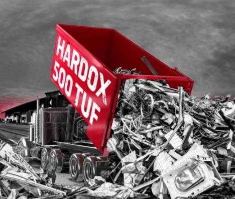 Hardox 500 Tuf újrahasznosító konténerekhez