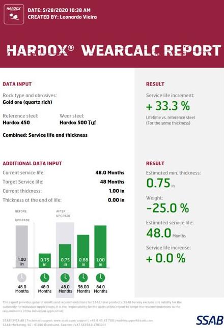 Şirketlerin Hardox aşınma çeliği kullanmakla elde edeceği potansiyel tasarrufu, servis ömrü artışı ve ağırlık azaltımını hesaplamasını sağlayan Hardox WearCalc uygulamasının ekran görünümü.