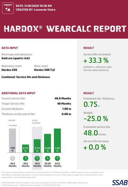 Ein Screenshot von der Hardox WearCalc-App, mit der Unternehmen potenzielle Einsparungen, Verbesserungen bei der Lebensdauer und Gewichtsreduzierungen durch die Verwendung von Hardox Verschleißblech berechnen können
