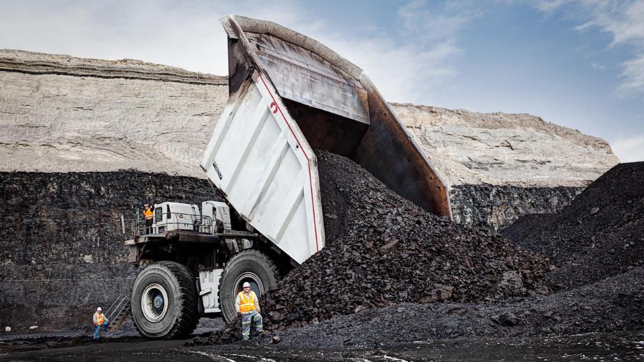 Le T282C Control Flow Body d'Austin/ Westech à la mine de charbon Peabody, à North Antelope Rochelle. Installée dans le bassin de la Powder River, dans l'état du Wyoming, aux États-Unis, c'est la plus grande réserve de charbon au monde.