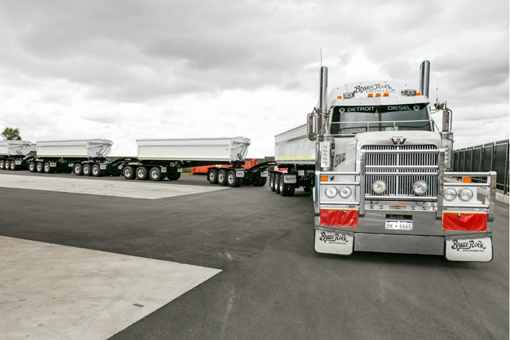 A road train made by Bruce Rock Engineering on the road in Australia