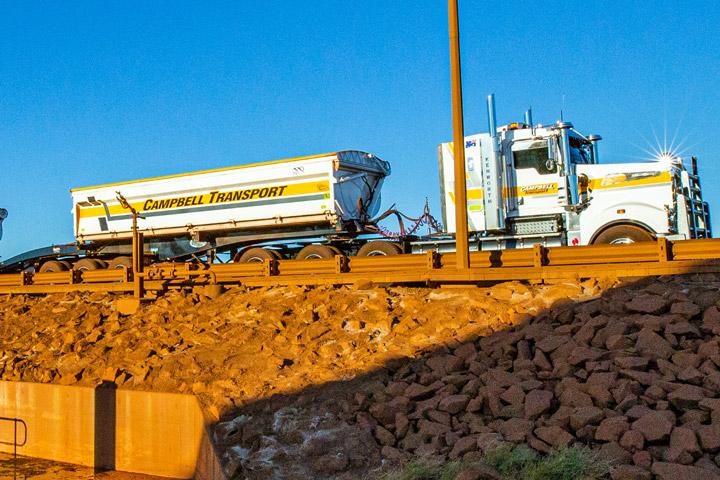 A mining trailer made in Hardox® HiAce against a clear blue sky
