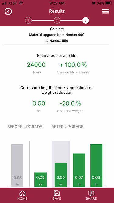SSAB's proprietary WearCalc mobile app projects wear life possibilities and calculates weight savings from upgrading to a higher grade like Hardox® 550.
