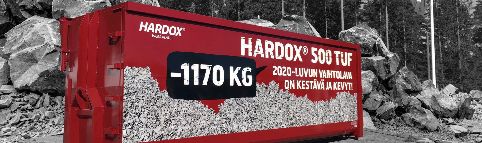 Vaihtolava valmistettu Hardox® 500 Tuf teräksestä valmiina päivän kovaan työhön