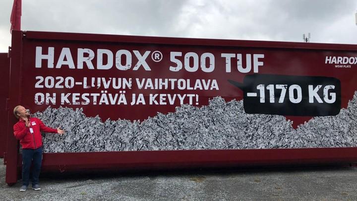 Esimerkki Hardox® 500 Tuf –kulutusteräksen tuomasta painonsäästöstä