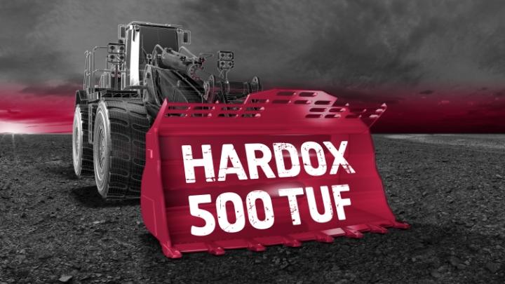 Hårt och tufft Hardox® 500 Tuf -stål i en skoplastare.
