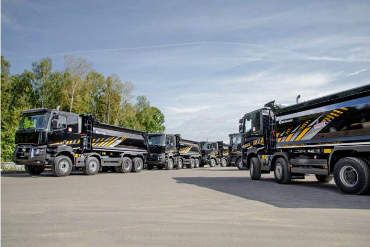 A fleet of rigid dump trucks made in hard and tough Hardox 450 wear steel