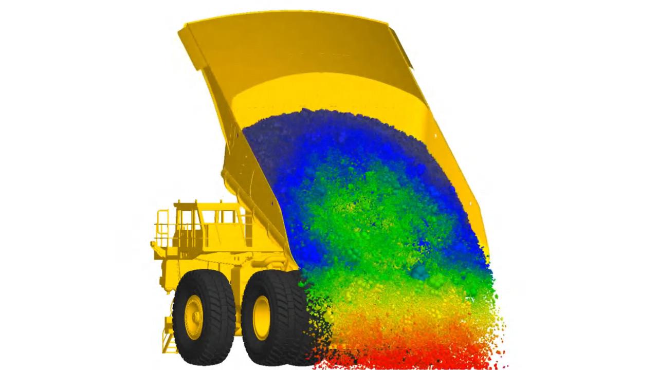 Bir damperli maden kamyonunun 3B modeli yük boşaltıyor