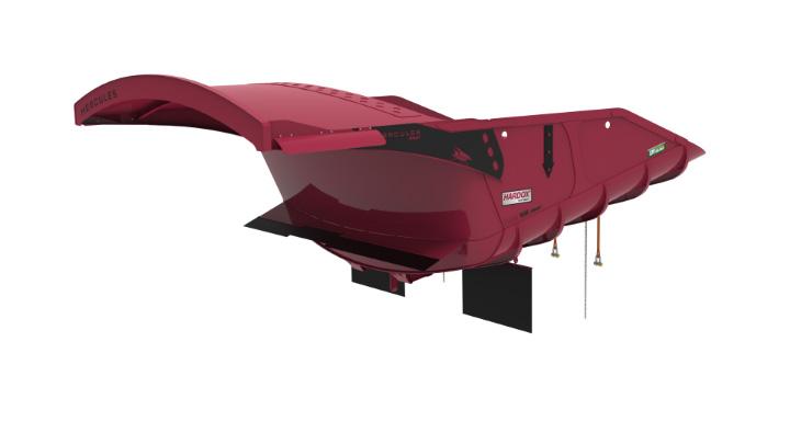 Parlak kırmızı Hercules HX eğimli kamyon gövdesinde Hardox® In My Body logosu