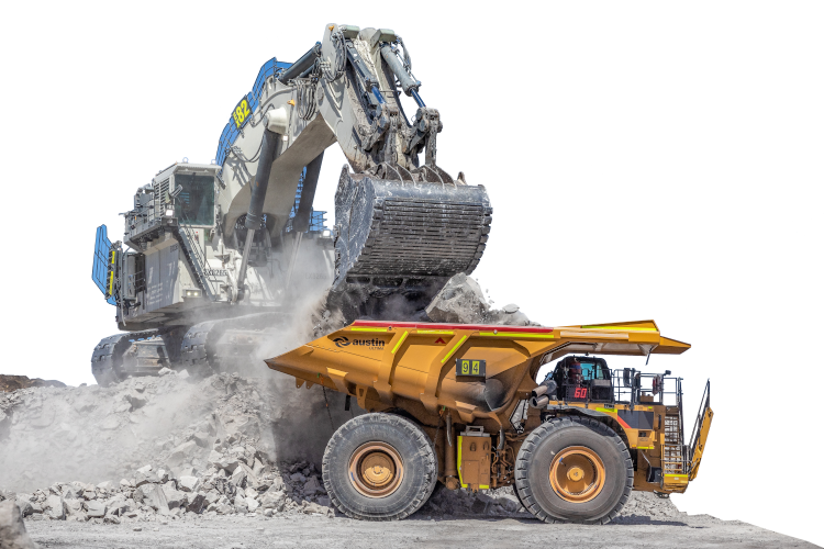 excavator and tipper