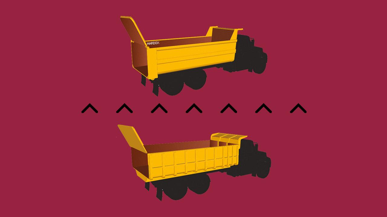 Hardox® 450으로 제작된 경량형 덤프트럭과 기존 덤프트럭 비교하기
