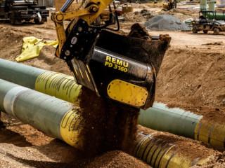 Caçambas-peneira da empresa finlandesa Remu, que usa tubos de aço de alta resistência à abrasão na construção das mesmas