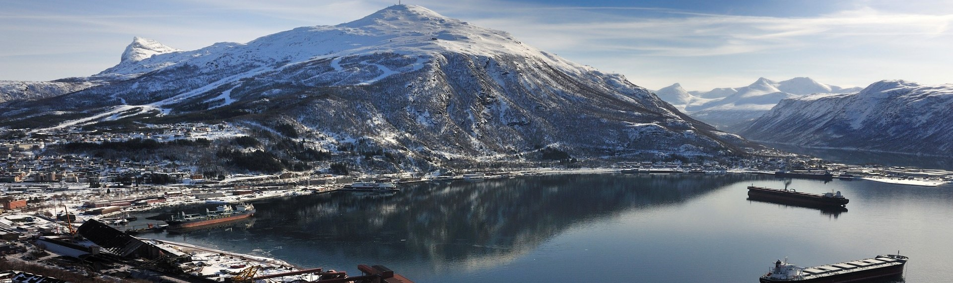 Overview of Narvik Harbour with LKAB's bulk port