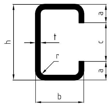Perfil de acero en C, conformado en frío