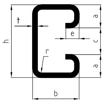 Perfil em C com bordos conformado a frio da SSAB