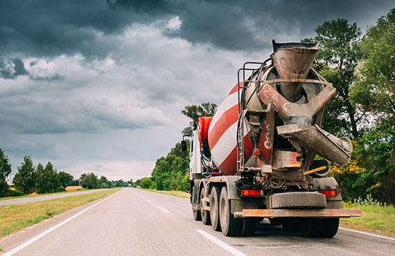 concrete and cement vehicle on road