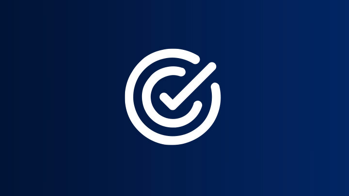 icon of achieved target on blue background