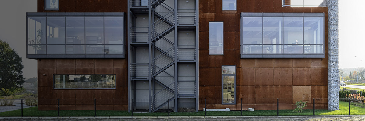 Corten facade features in office building in Warsaw