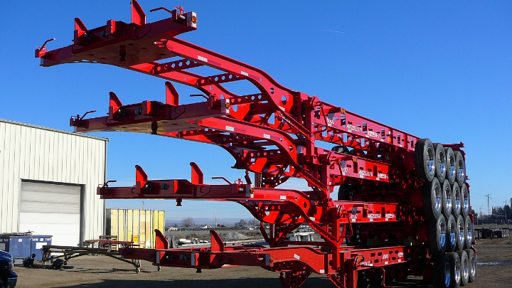 Four trailer chassis of Strenx® steel stacked on top of each other