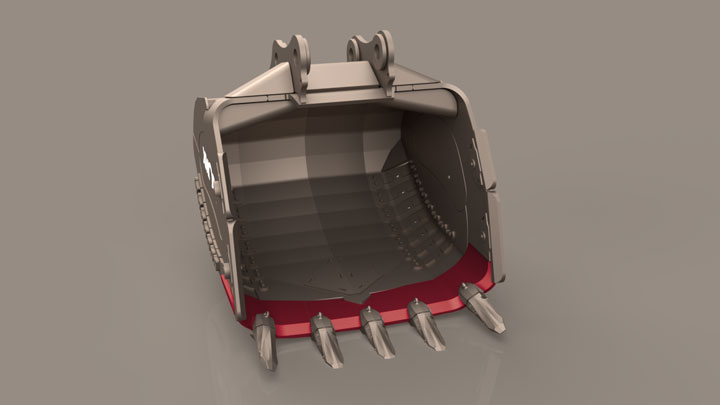 Bucket with curved cutting edge