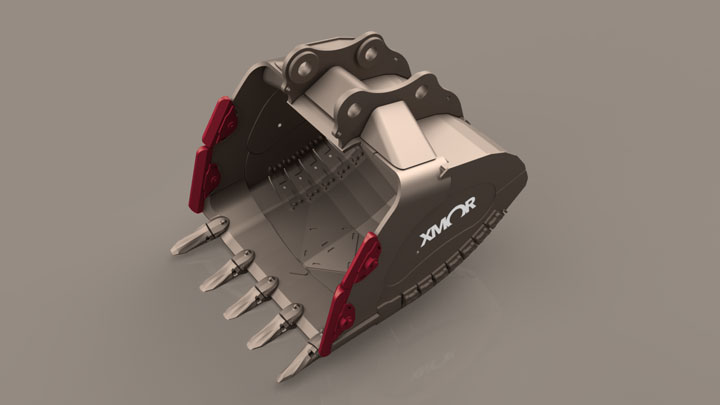 bucket with mechanical wing shrouds