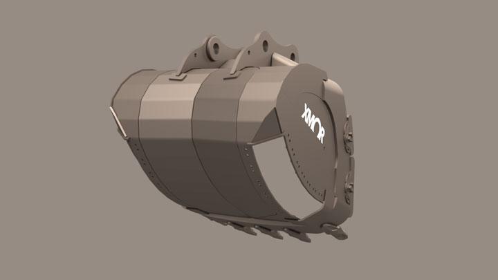 Bucket with corner cavity